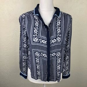 Anthropologie Maeve Patterned Long Sleeve Top B48